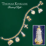 Thomas Kinkade Faith And Family Religious Charm Bracelet Gold Plated Jewelry - Inspirational Thomas Kinkade Religious Charm Bracelet Embraces You in Faith and Family Every Day! Exclusive!