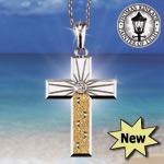 "Thomas Kinkade Footprints In The Sand Diamond Pendant - Thomas Kinkade Cross Pendant a Silver, Gold and Diamond Testament to Your Faith! Exclusive ""Footprints in the Sand"" Jewelry!"