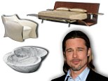 Fancy a soak in Brad Pitt's bathtub? Actor designs luxury furniture range featuring a bed made of stingray skin, a marble bath shaped like a bottom and a plastic armchair