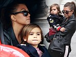 World tour: Kourtney, seen with husband Scott Disick, had arrived in Paris after spending a few days in London