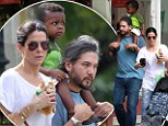Mommy's little (big) helpers! Sandra Bullock and Louis get some assistance from burly bodyguard... and her brother-in-law