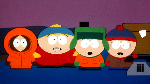 From left, characters Kenny, Cartman, Kyle and Stan are shown in a scene from the animated series South Park. The show will make its French-language debut in Quebec next month.