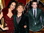 They're all going green! Mick Jagger follows Robert Pattinson by stepping out in an emerald suit... while girlfriend L'Wren Scott adds sparkle in scarlet