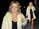 Geri Halliwell shows off her pins in LBD and fur coat as she enjoys a spot of party-hopping
