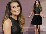 Lovely in leather! Lea Michele cuts a stylish figure in an all-black ensemble as she appears on Jay Leno