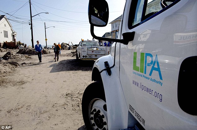 In the dark: More than 70,000 customers of Long Island Power Authority (LIPA) were without electricity Monday, two weeks after Superstorm Sandy struck