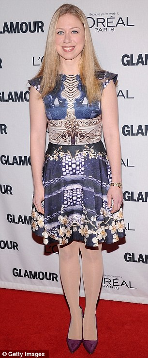 Glamorous: Beyonce's sister Solange Knowles and Chelsea Clinton opted for prints