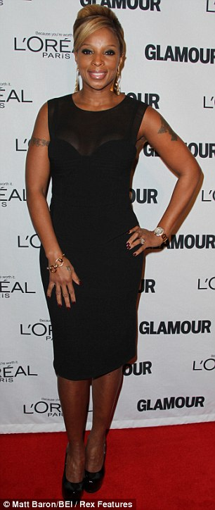 Looking good: Mary J. Blige and actress Julianna Margulies also turned up in little black dresses for the event