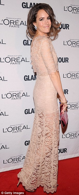 Lovely in lace: Plain Jane host Louise Roe looked absolutely lovely in a floor-length lace gown