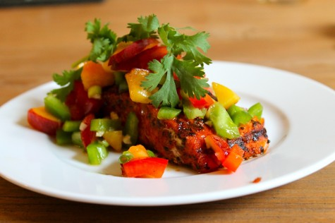cajun salmon with peach salsa
