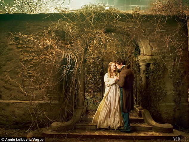 Love in a hopeless place: Amanda Seyfried and Eddie Redmayne were photographed by Anne Leibovitz's as their characters, lovers Cosette and Marius