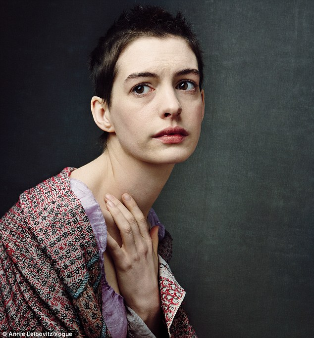 Near death: Anne Hathaway had to starve herself to play prostitute Fantine, loosing 25 pounds by eating just oatmeal paste