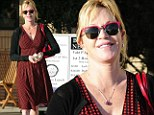 Lady in red: Melanie Griffith colour coordinated every aspect of her outfit as she stepped out in Los Angeles on Wednesday afternoon