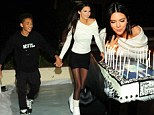 Kendall takes the lead! Jaden Smith has a hard time keeping up with Kendall Jenner as they celebrate her 17th birthday