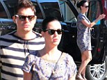 Katy Perry and John Mayer take their romance on the road as they dine alfresco after travelling to picturesque coastal town