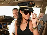 Poser! Rihanna sits in the cockpit of the plane before taking off to her first stop on the 777 tour