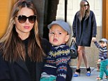She can't do no wrong! Leggy Miranda Kerr has yet ANOTHER fashion hit as she steps out with son Flynn in a stylish short dress and coat