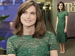 Keira Knightley puts her trim figure on display is demure lace dress as she sits down for a chat with Jay Leno