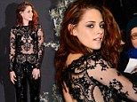 Kristen Stewart wears sparkling jumpsuit with see-through panels as she attends Breaking Dawn Premiere with Robert Pattinson