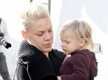The look of love: Pink looked lovingly towards her daughter Willow as they ran errands on Wednesday