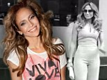 That's a little more comfortable! Jennifer Lopez swaps her figure-hugging jumpsuit for a floppy tee as she promotes T-shirt line
