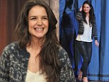 Fashion identity crisis: Katie Holmes appears on Late Night with Jimmy Fallon wearing sexy leather pants and a nanna cardigan