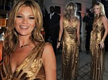 She's still the golden girl of having a good time! Kate Moss shines in plunging metallic gown to host star-studded book launch party