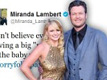 Not so fast! Blake Shelton and Amanda Lambert quash pregnancy rumours...but country star jokes he know he's 'gained some weight'