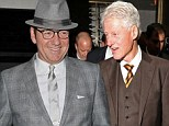 What could they have talked about? A suited Kevin Spacey joins Bill Clinton for plush dinner in London