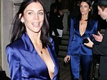 Over the blues! Liberty Ross shows plunging neckline in eye-catching blue suit as she supports fellow model Kate Moss at book launch