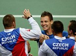 Czech mates: Berdych and his team celebrate