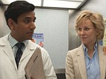 Lovers: Naveen Andrews plays heart surgeon Hasnat Khan in the film (pictured for the first time here in his doctor's whites). The movie concerns itself with the two-year, secretive relationship the princess had with him
