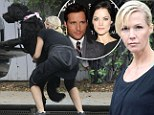 Puppy love: Jennie Garth headed off for a spot of exercise with her dog Black Pearl in LA on Friday