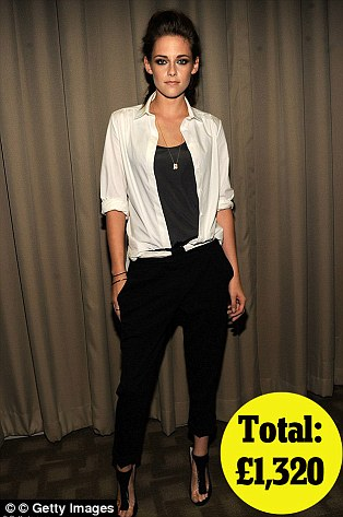 At a private screening of On The Road in New York on 10th Sept: Balenciaga shirt £275 , ALC trousers £395, Jimmy Choo shoes £650