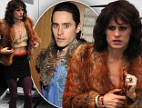 Jared Leto steps out on film set dressed as a woman, complete with crop top, waxed chest and heavy make-up