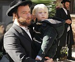 Liev Schreiber, dressed like a Hasidic Jew, films Fading Gigolo with Woody Allen in West Village in New York City and got a visit to set from his son Alexander