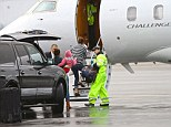 On the go: Jennifer Garner took off on a private jet with her three children on a drizzly Saturday, bound for a holiday; hopefully Ben Affleck will be joining them soon