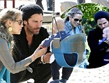 Elizabeth Berkley and hubby Greg Lauren take their son Sky Cole to Cold Water Park in Beverly Hills