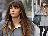 Jessica Biel strolls through SoHo in leather pants and grey trench coat, NYC