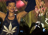 That a reefer? Rihanna performed on stage in Berlin Sunday night wearing a see-through mesh top that had what looked like a cannabis on front