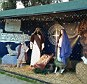 Banned: A Nativity scene is seen with a protective fence along Santa Monica's shore last year, a scene which according to the city will not re-appear this year