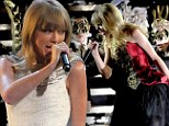 Country girl Taylor Swift goes to the dark side with dramatic dubstep performance as she tears off white gown while singing 'John Mayer track' at AMAs