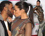 Jordin Sparks and Jason Derulo kiss ont he red carpet at the American Musci Awards 2012