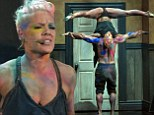 Pink performed an acrobatic dance routine at the American Music Awards in Los Angeles on Sunday