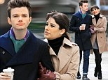 Stylish stars: Lea Michele and Chris Colfer looked chic as they filmed scenes for Glee on location in NYC on Sunday