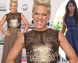 Pink attends the 40th American Music Awards held at Nokia Theatre L.A. Live a dress Kim Kardashian had previously worn