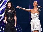 Like yin and yang: X Factor's Nicole Scherzinger wears white origami style dress as Tulisa opts for dramatic black gown