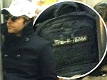Going underground: Bradley Cooper hid in dark shades and cap aboard the NYC subway, but his A-Team bag gave him away
