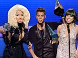 'This is for the haters!' Justin Bieber dominates 40th American Music Awards with THREE awards... as Nicky Minaj and Carly Rae Jepson score big