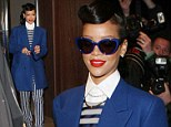 Rihanna seen leaving her hotel to switch on Christmas lights